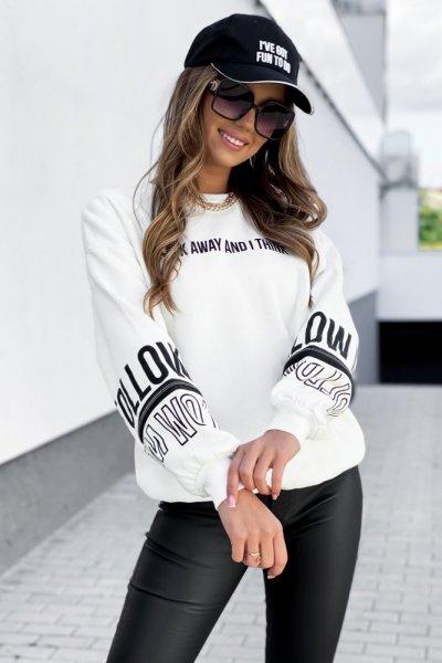 Bluza z napisami - biała