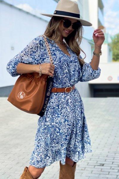 Sukienka midi - blue flowers