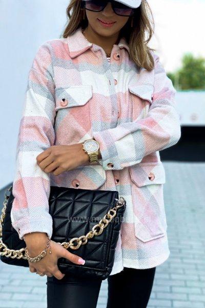 Koszula flanela w kratę - pink/grey