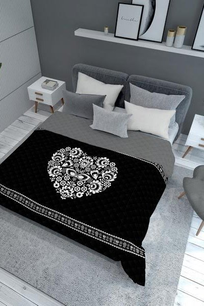 Narzuta dwustronna HEART 170x210 - black/white