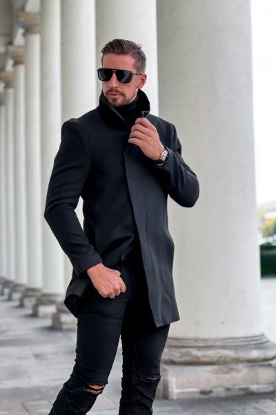 Płaszcz męski czarny wysoki kołnierz