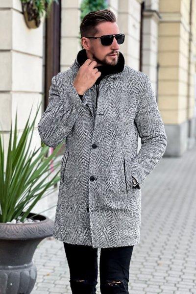 Płaszcz męski zimowy H12 wzór jodełka