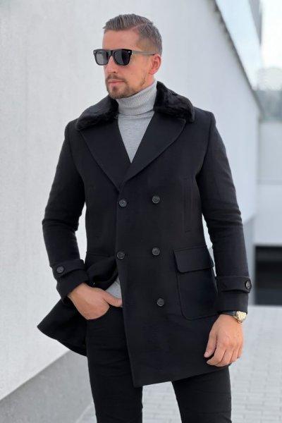 Płaszcz męski dwurzędowy H15 Czarny