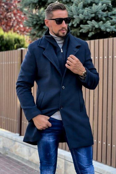 Płaszcz męski zimowy H15 Granatowy