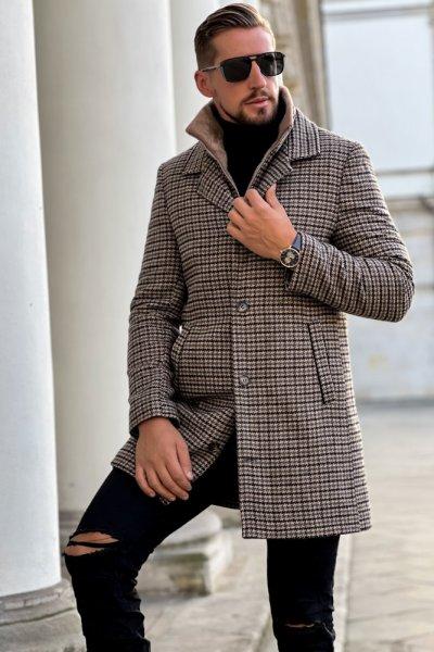 Płaszcz męski zimowy w pepitkę H18