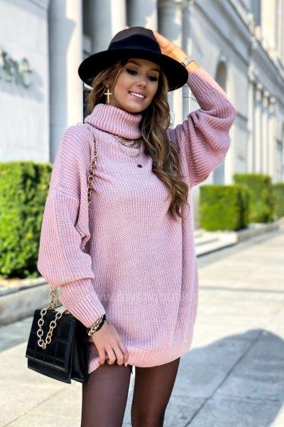 Sweter golf przedłużany SWEET - pink