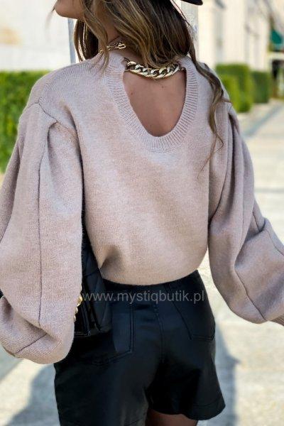 Sweter FASHION z łańcuchem - beige