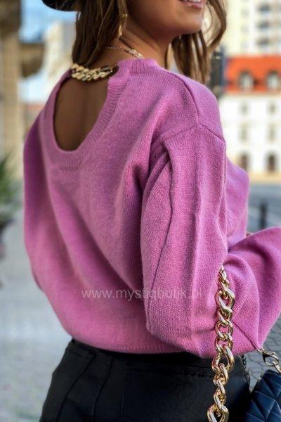Sweter FASHION z łańcuchem - pink