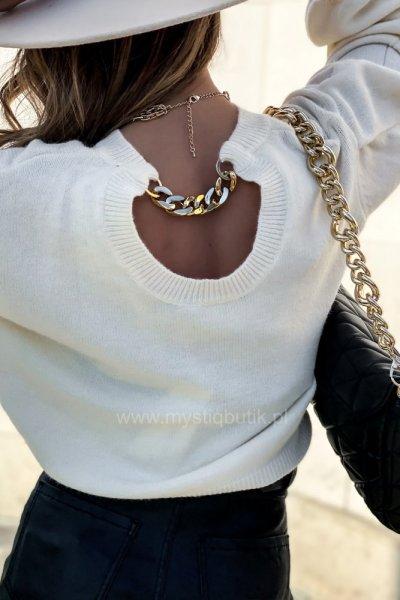 Sweter FASHION z łańcuchem - ecru