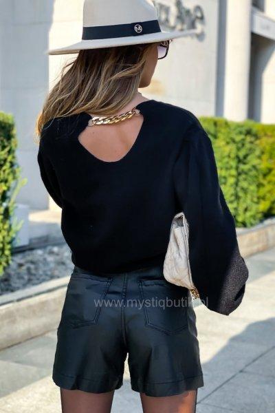 Sweter FASHION z łańcuchem - black