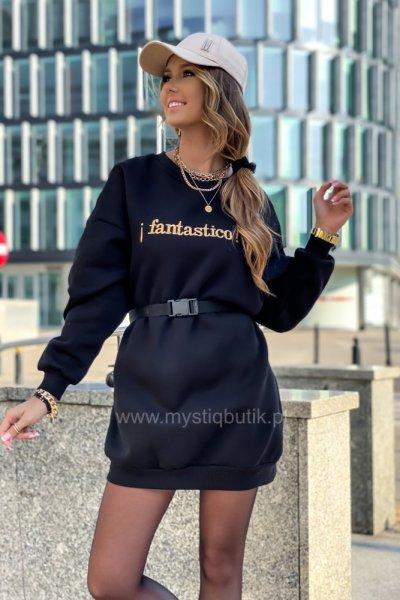 Bluza/sukienka ocieplana z paskiem FANTASTICO - black