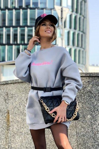 Bluza/sukienka ocieplana z paskiem FANTASTICO - grey
