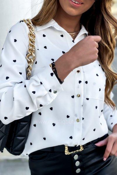 Koszula PURRA HEART - white/black