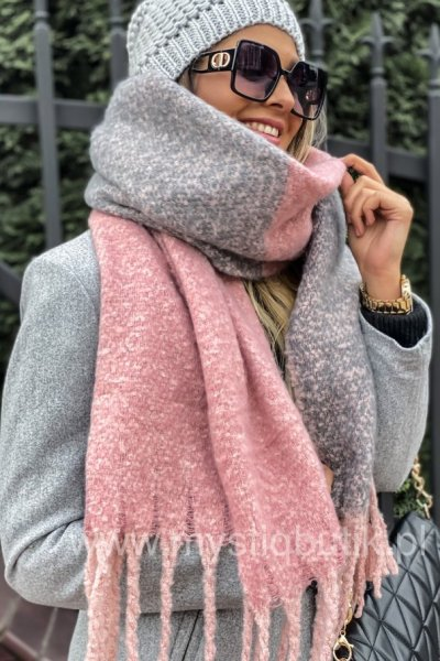 Szal SOFT - pink / grey