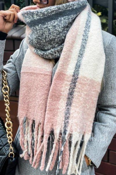 Szal w kratę SOFT - grey/pink