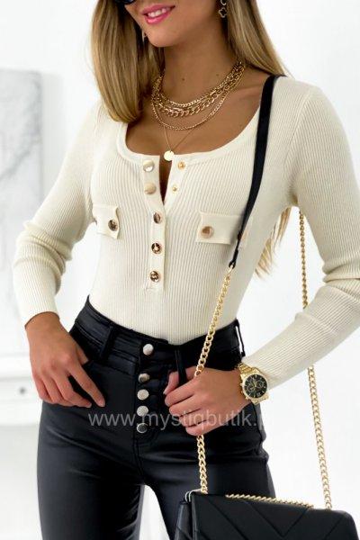 Bluzka sweterkowa ze złotymi guzikami - ecru