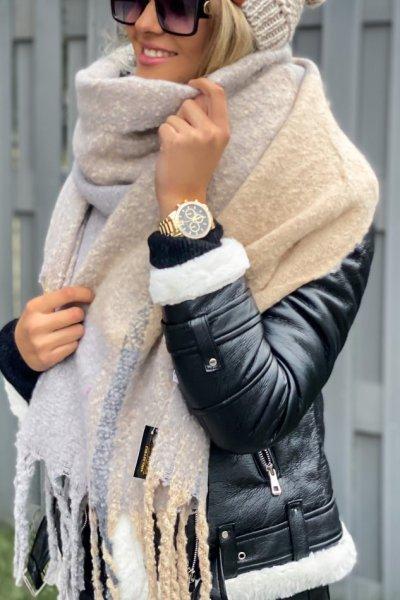 Szal SOFT - beige/grey