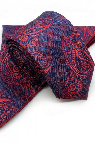 Krawat męski + poszetka ornament - czerwień
