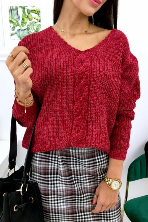 Sweter SOFTY w serek - bordo