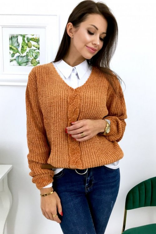Sweter SOFTY w serek - camel