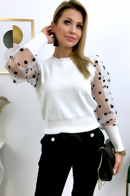 Sweter PARIS szyfon/grochy ( MCY01923 ) - white