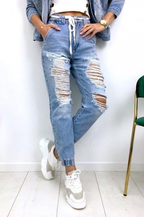 Spodnie jeans BAGGY z dziurami - blue