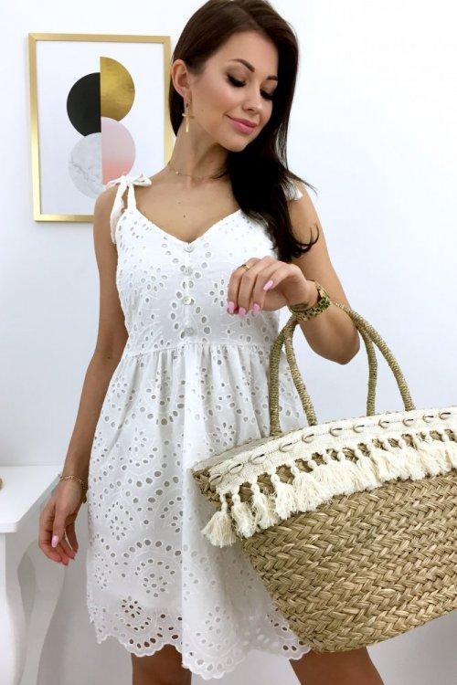 Sukienka ażurowa na ramiączka BETTI - white