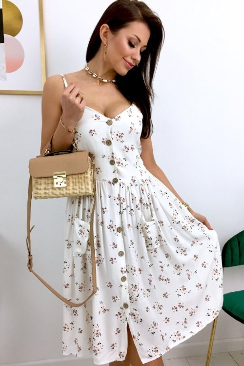 Sukienka SUNNY - ecru/flowers