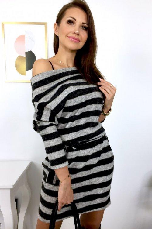 Sukienka MEGG w pasy - grafit/black